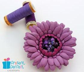 Leather flower, leather brooch, floral corsage, pink gerbera