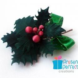 Christmas brooch, holly corsage, Christmas jewellery